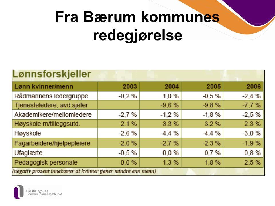 Fra Bærum kommunes redegjørelse
