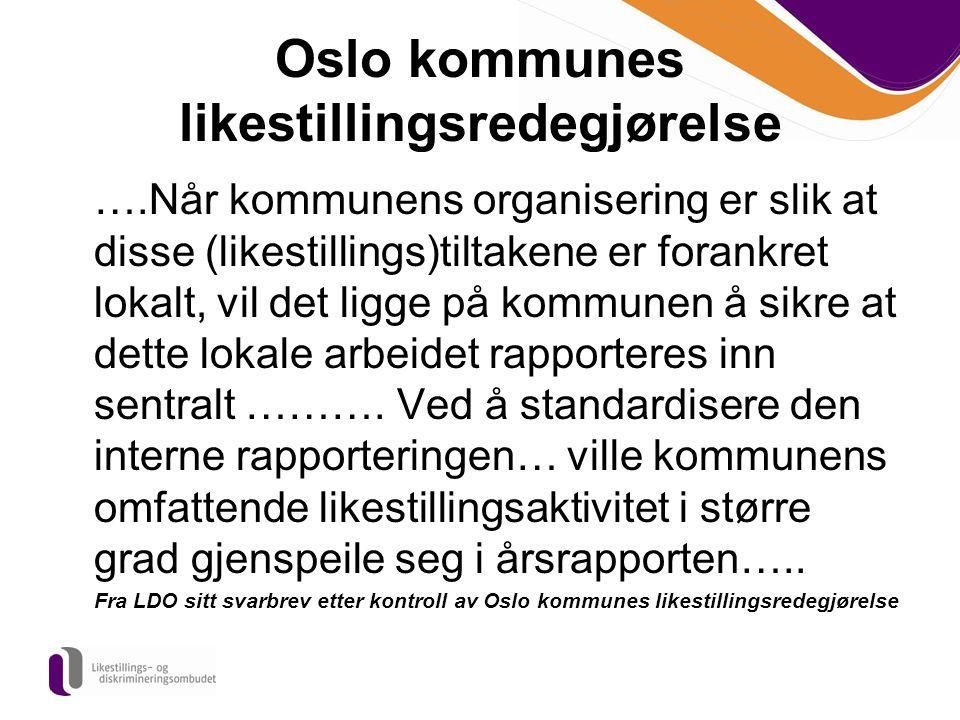 Oslo kommunes likestillingsredegjørelse