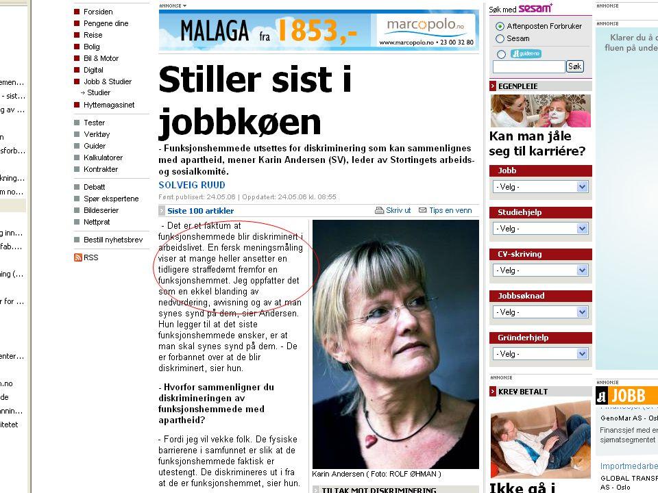 Karin Andersen viser til en meningsmåling i dette klippet fra Aftenposten som sier at mange heller ansetter straffedømte en funksjonshemmede. Hun sammenligner det med apartheid.