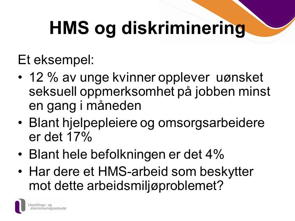 HMS og diskriminering Et eksempel: