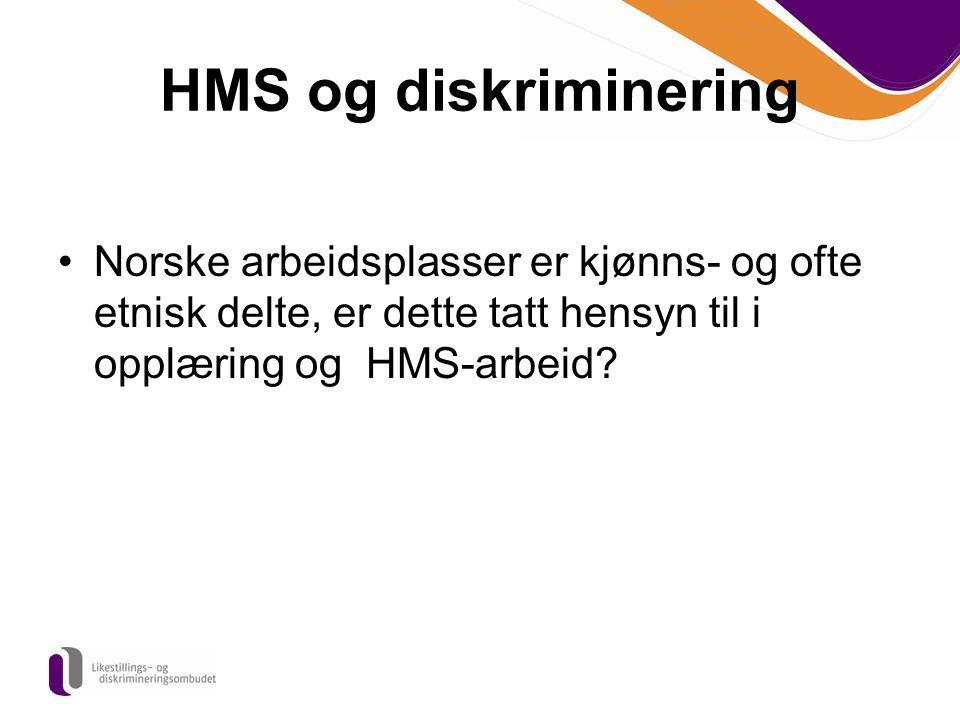 HMS og diskriminering Norske arbeidsplasser er kjønns- og ofte etnisk delte, er dette tatt hensyn til i opplæring og HMS-arbeid