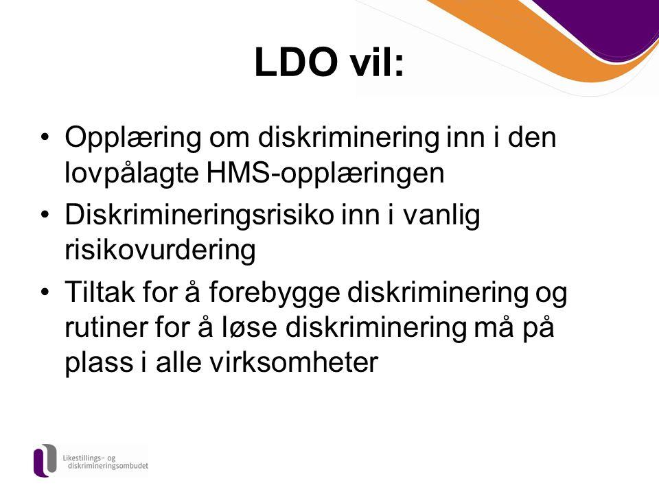 LDO vil: Opplæring om diskriminering inn i den lovpålagte HMS-opplæringen. Diskrimineringsrisiko inn i vanlig risikovurdering.