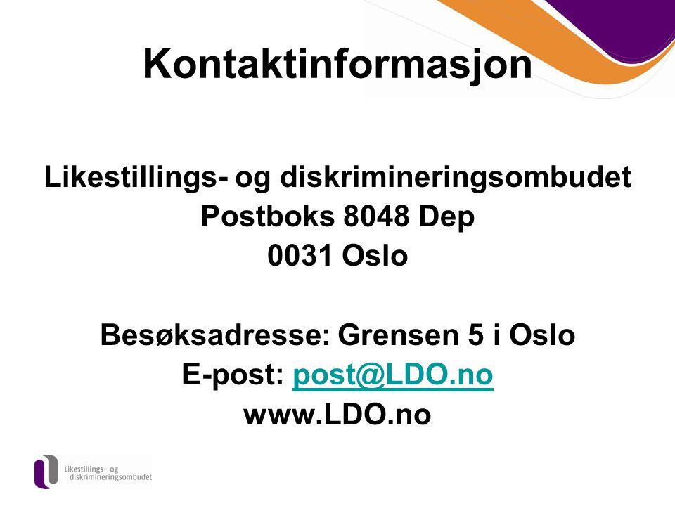 Kontaktinformasjon Likestillings- og diskrimineringsombudet