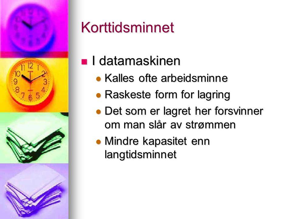 Korttidsminnet I datamaskinen Kalles ofte arbeidsminne