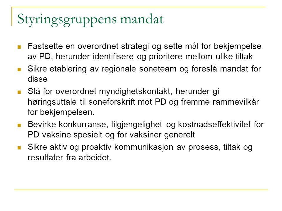 Styringsgruppens mandat