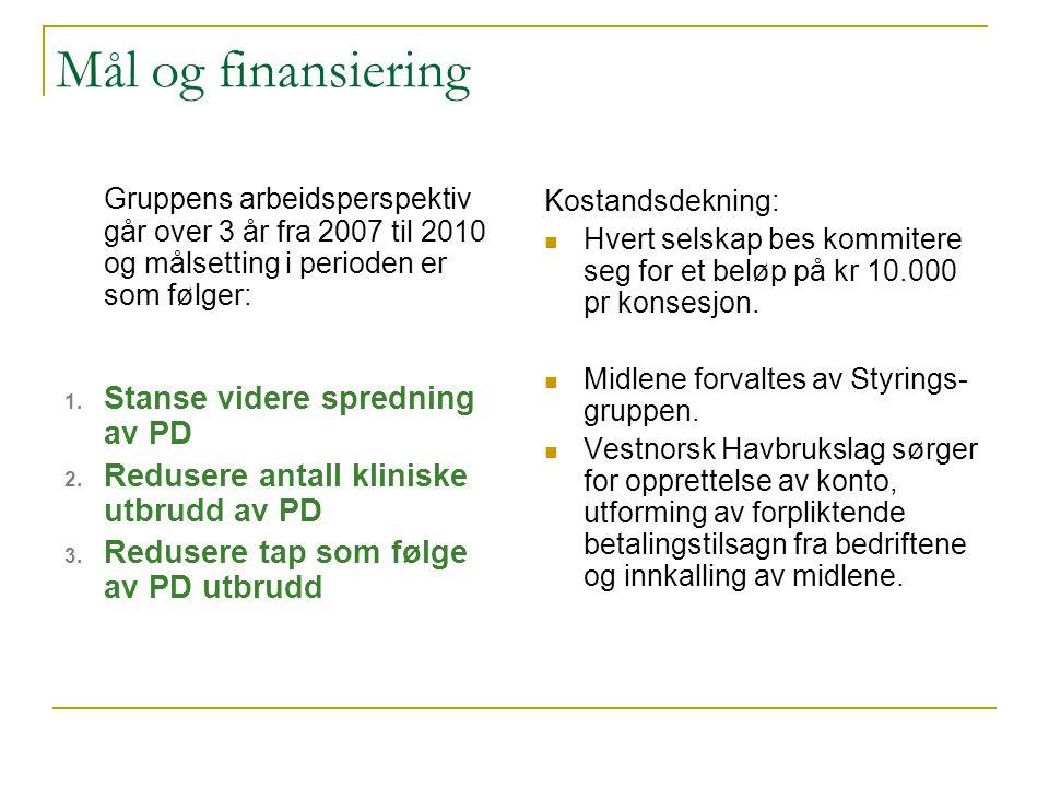 Mål og finansiering Kostandsdekning: Hvert selskap bes kommitere seg for et beløp på kr 10.000 pr konsesjon.