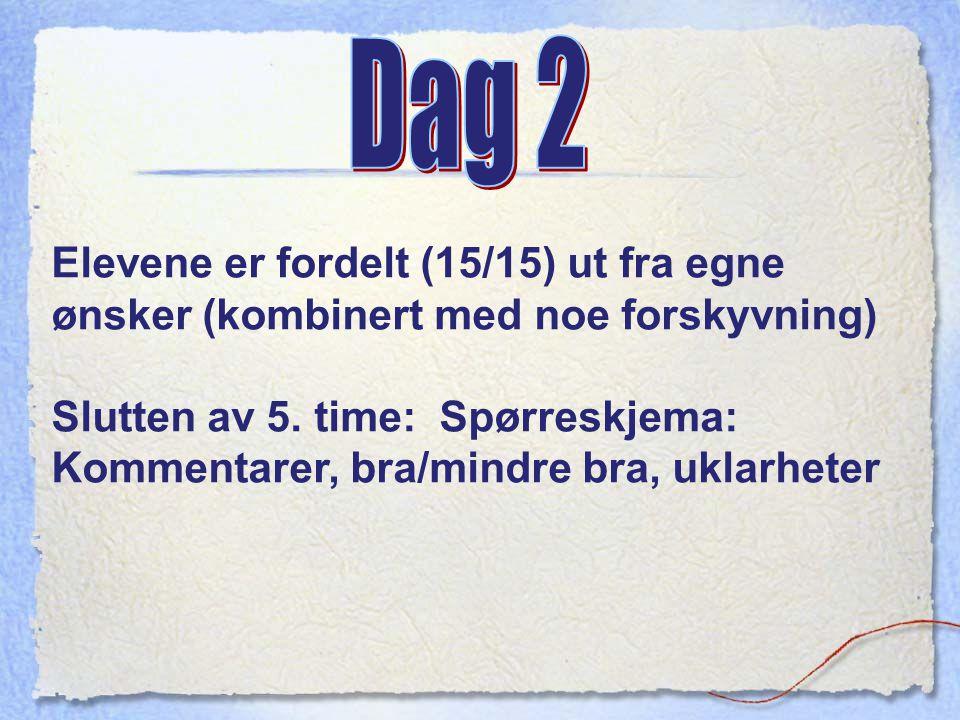 Dag 2 Elevene er fordelt (15/15) ut fra egne ønsker (kombinert med noe forskyvning)