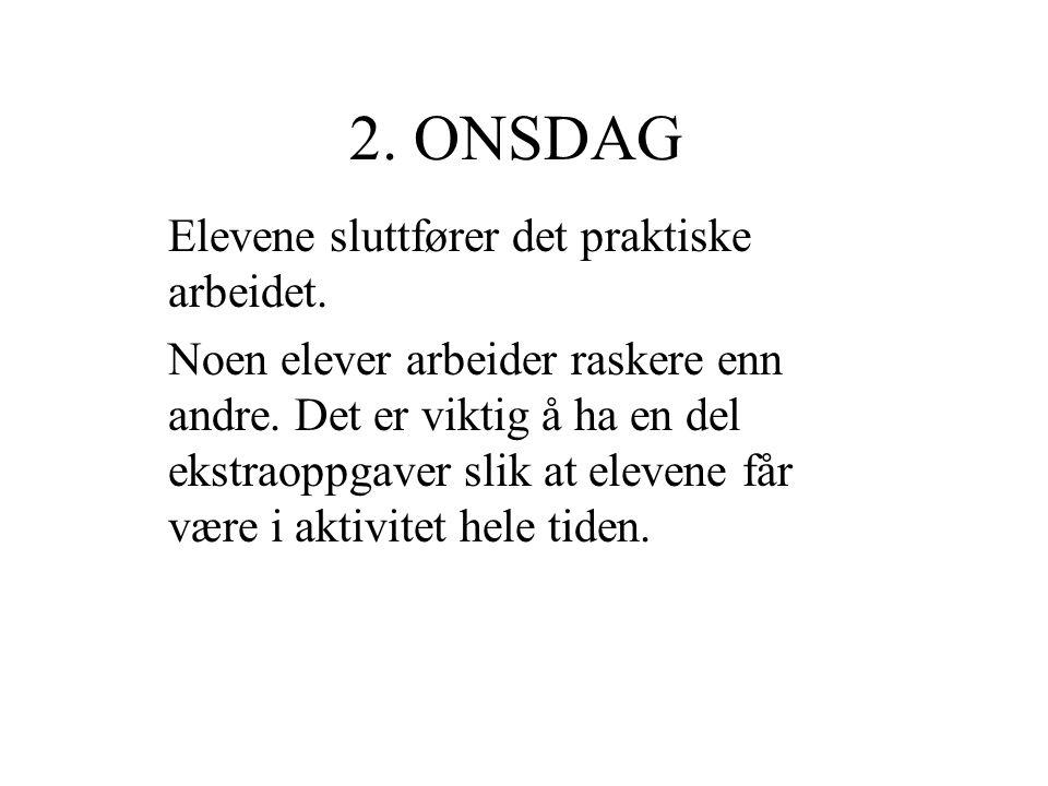 2. ONSDAG Elevene sluttfører det praktiske arbeidet.