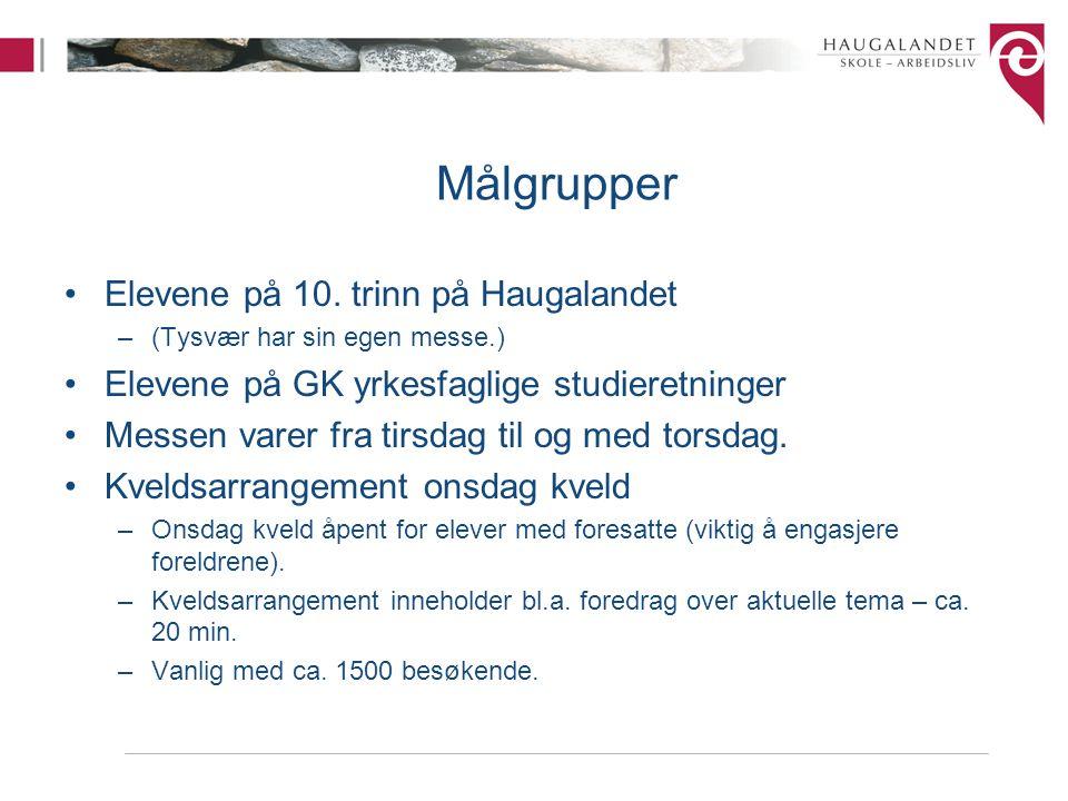 Målgrupper Elevene på 10. trinn på Haugalandet