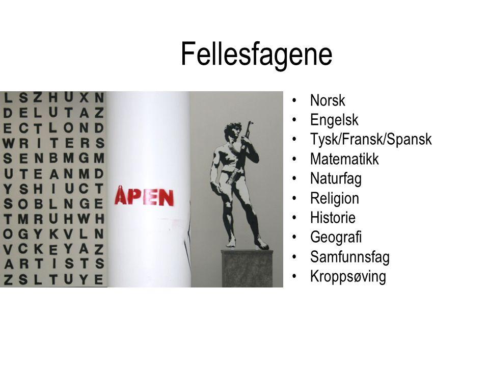 Fellesfagene Norsk Engelsk Tysk/Fransk/Spansk Matematikk Naturfag