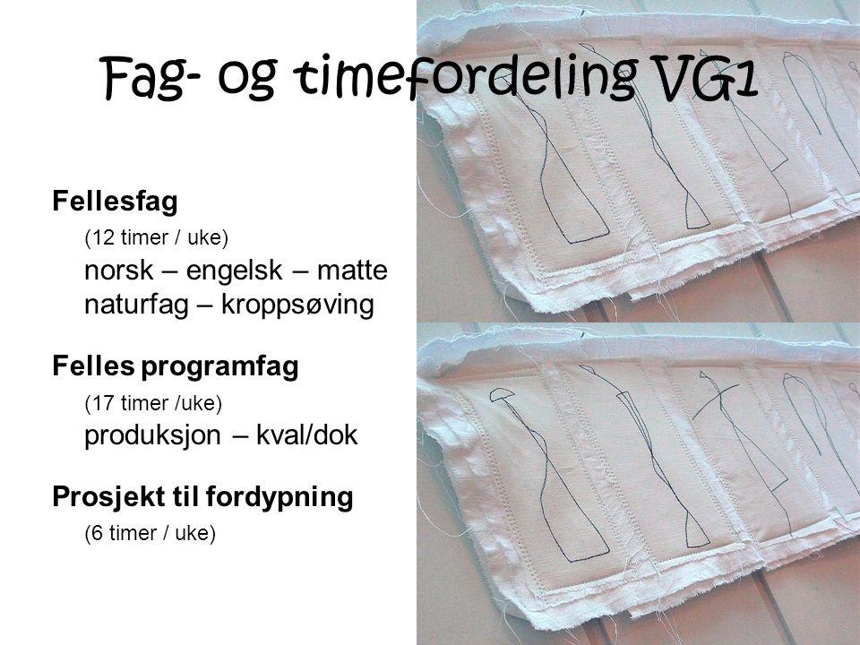 Fag- og timefordeling VG1