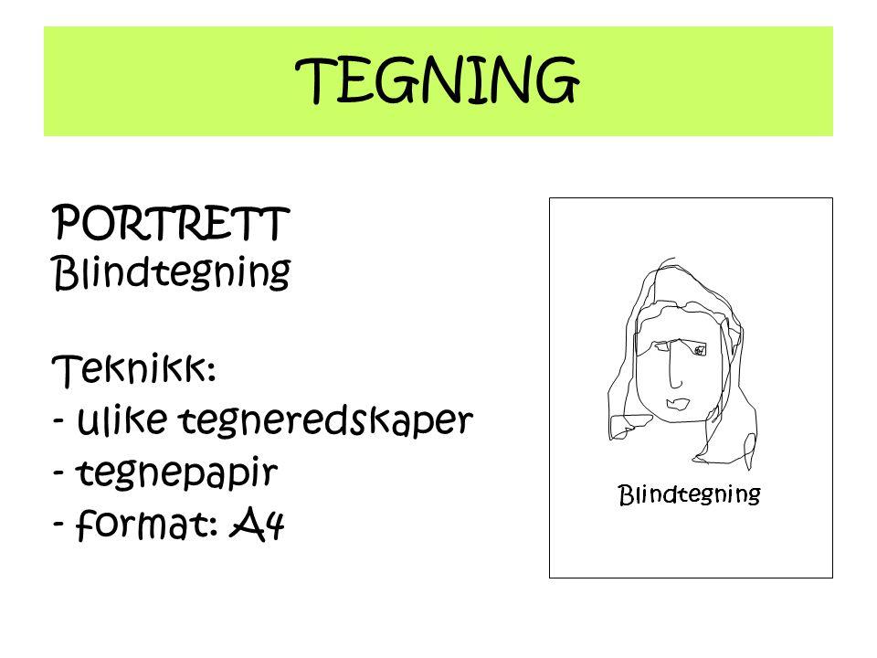 TEGNING PORTRETT Blindtegning Teknikk: - ulike tegneredskaper