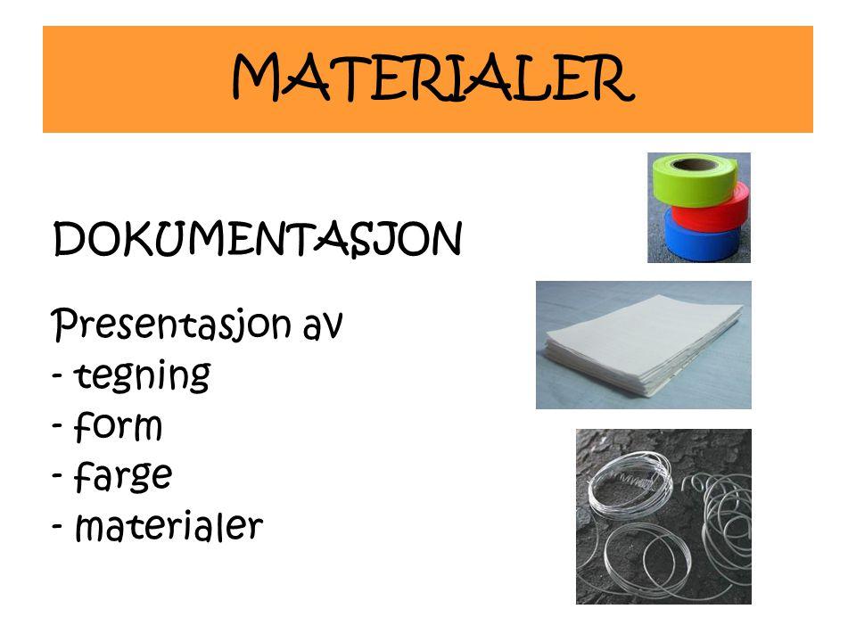 MATERIALER DOKUMENTASJON Presentasjon av - tegning - form - farge