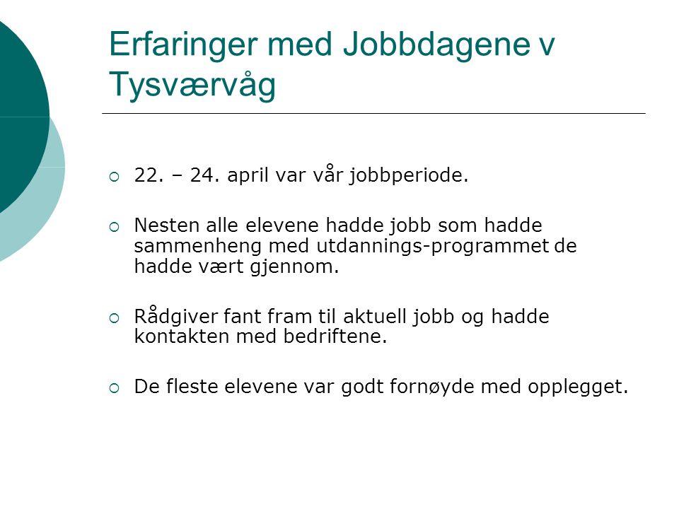 Erfaringer med Jobbdagene v Tysværvåg