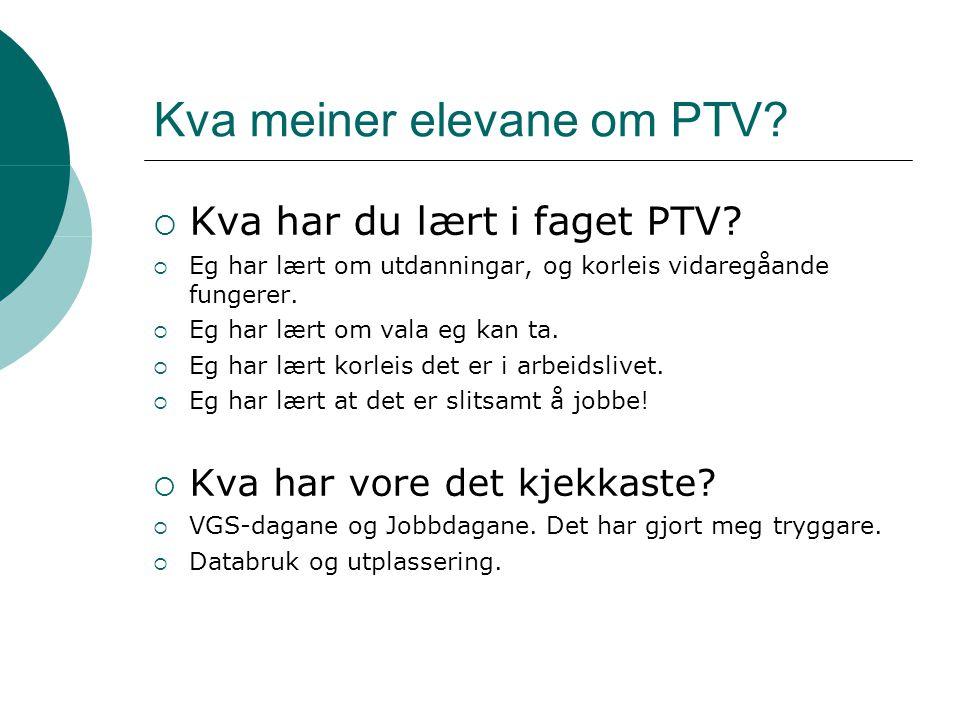 Kva meiner elevane om PTV