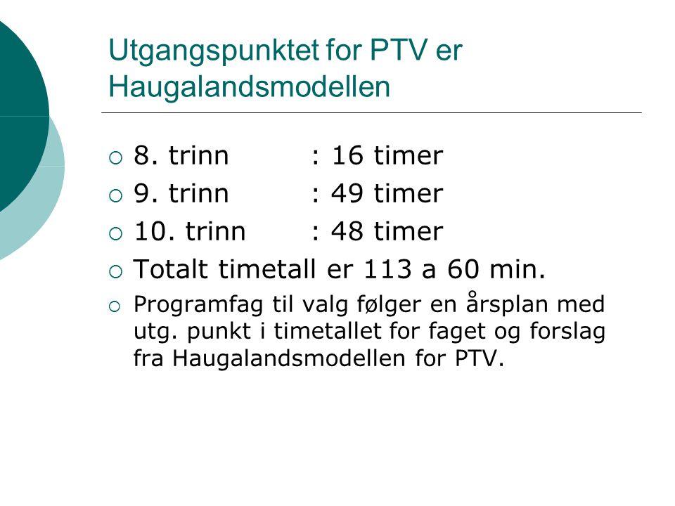 Utgangspunktet for PTV er Haugalandsmodellen