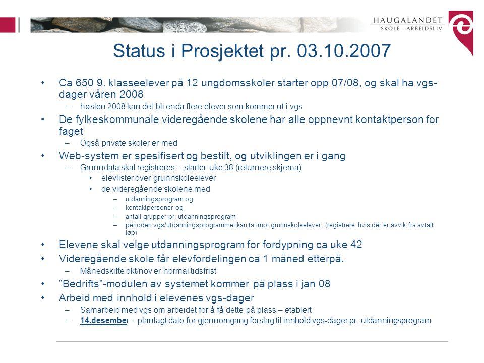 Status i Prosjektet pr. 03.10.2007 Ca 650 9. klasseelever på 12 ungdomsskoler starter opp 07/08, og skal ha vgs-dager våren 2008.