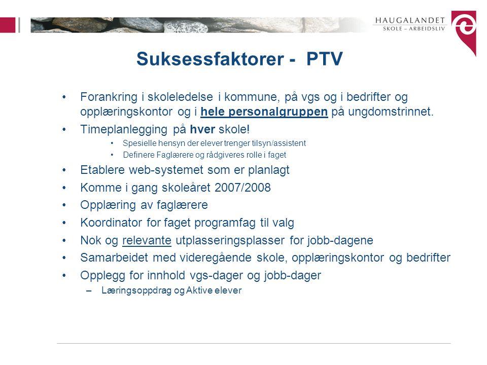 Suksessfaktorer - PTV Forankring i skoleledelse i kommune, på vgs og i bedrifter og opplæringskontor og i hele personalgruppen på ungdomstrinnet.