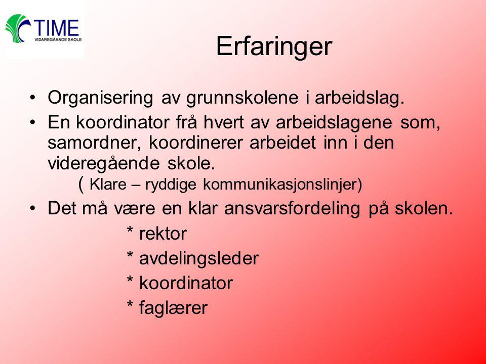 Erfaringer Organisering av grunnskolene i arbeidslag.