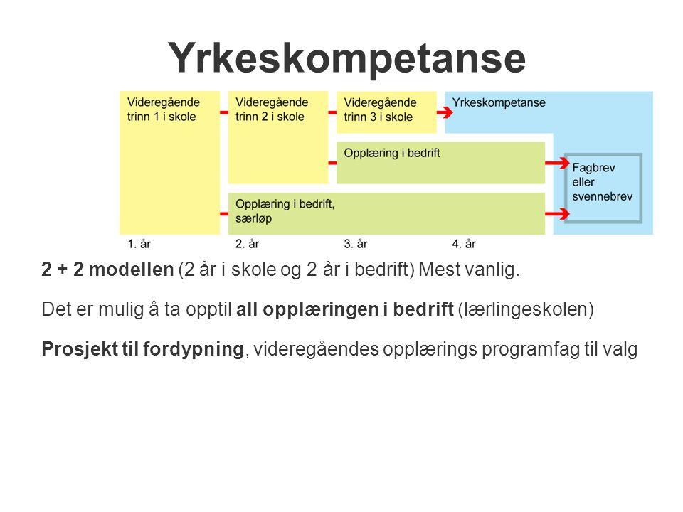 Yrkeskompetanse 2 + 2 modellen (2 år i skole og 2 år i bedrift) Mest vanlig. Det er mulig å ta opptil all opplæringen i bedrift (lærlingeskolen)