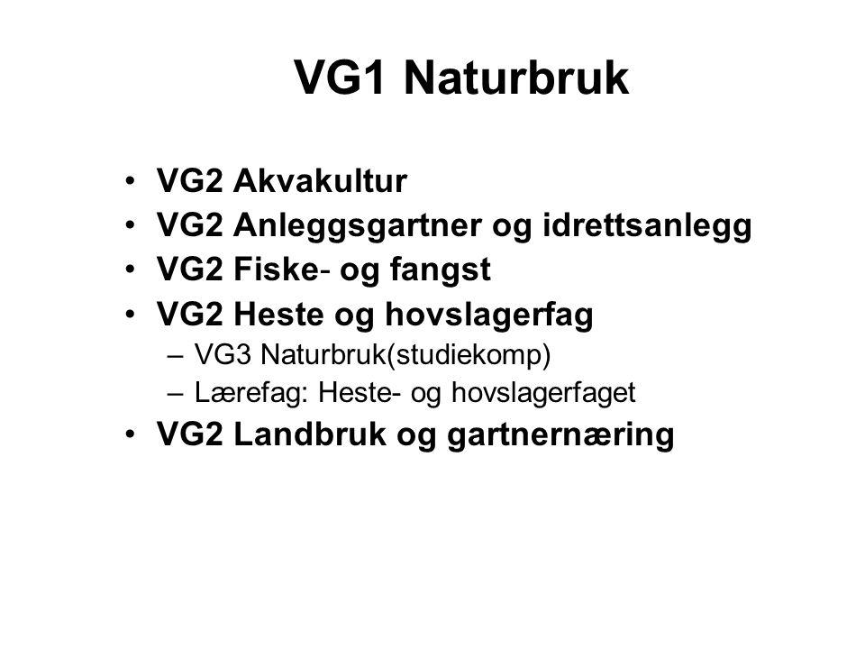 VG1 Naturbruk VG2 Akvakultur VG2 Anleggsgartner og idrettsanlegg