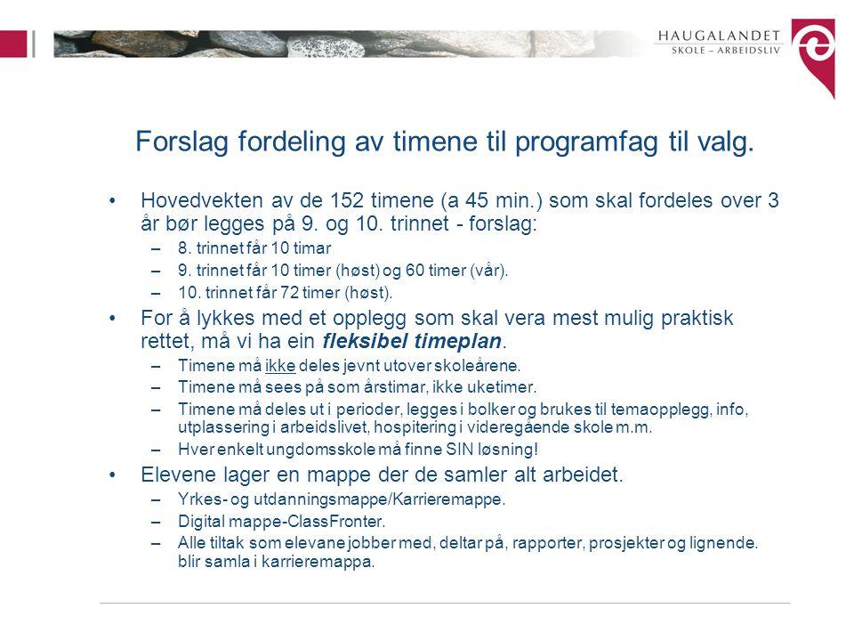 Forslag fordeling av timene til programfag til valg.