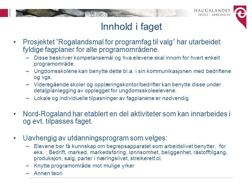 Innhold i faget Prosjektet Rogalandsmal for programfag til valg har utarbeidet fyldige fagplaner for alle programområdene.