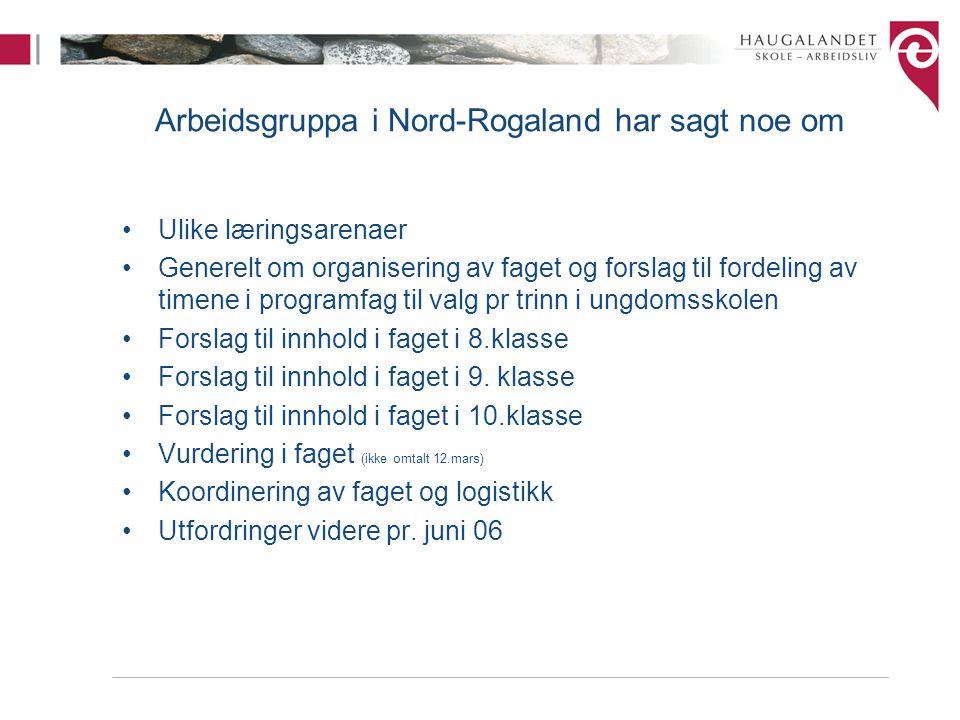 Arbeidsgruppa i Nord-Rogaland har sagt noe om