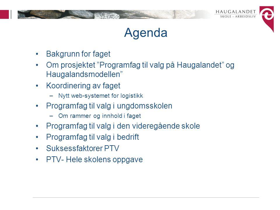 Agenda Bakgrunn for faget