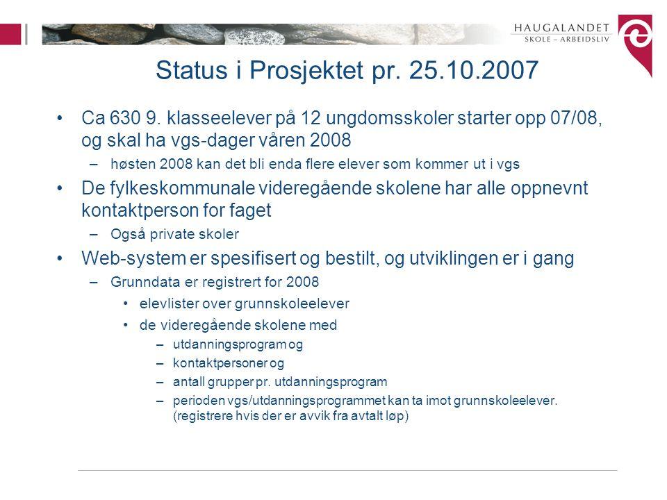 Status i Prosjektet pr. 25.10.2007 Ca 630 9. klasseelever på 12 ungdomsskoler starter opp 07/08, og skal ha vgs-dager våren 2008.