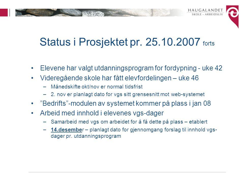 Status i Prosjektet pr. 25.10.2007 forts