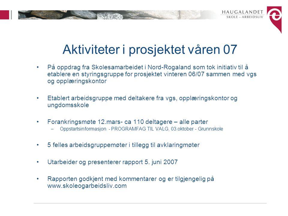 Aktiviteter i prosjektet våren 07
