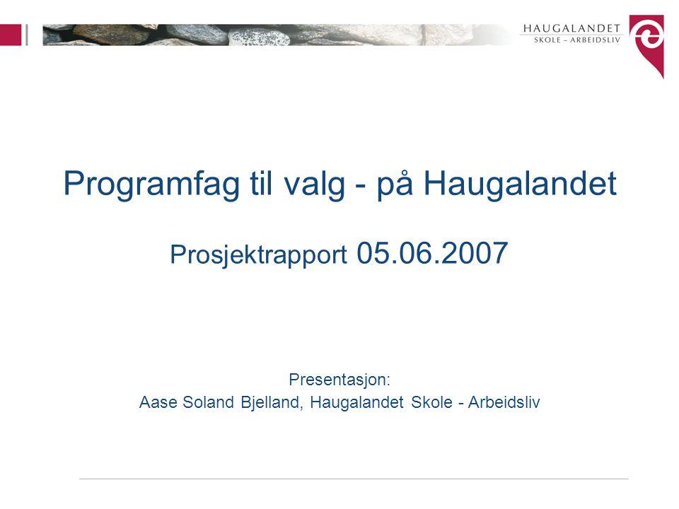 Programfag til valg - på Haugalandet Prosjektrapport 05.06.2007