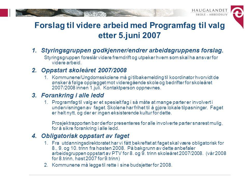 Forslag til videre arbeid med Programfag til valg etter 5.juni 2007