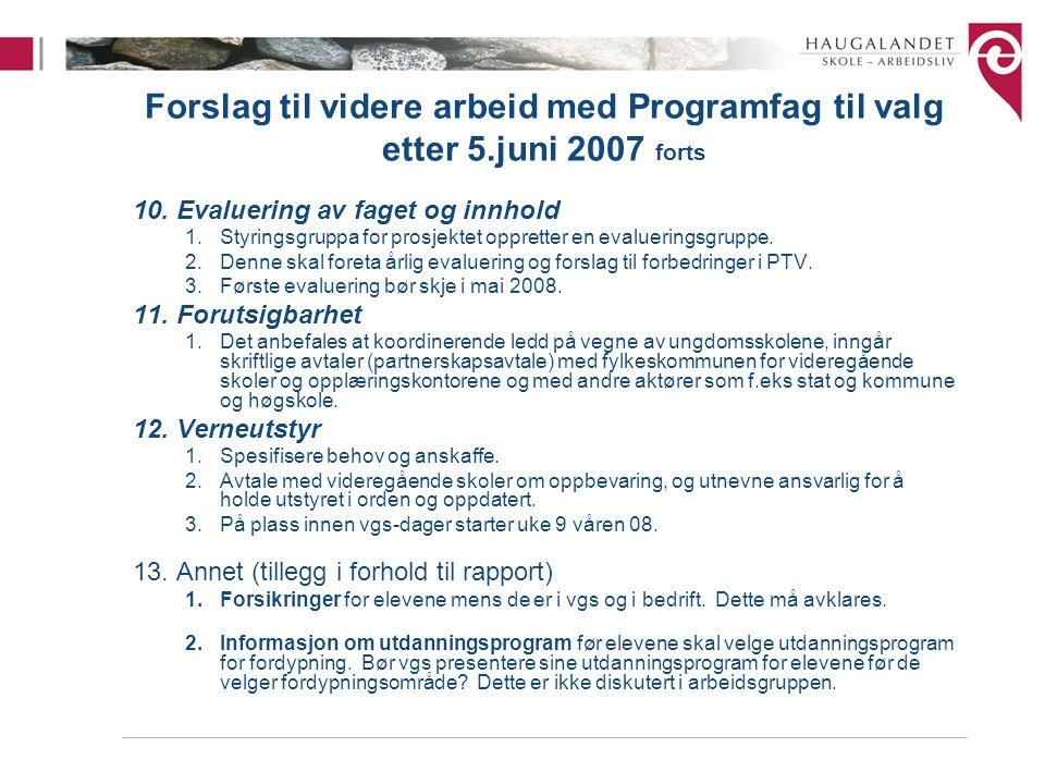 Forslag til videre arbeid med Programfag til valg etter 5