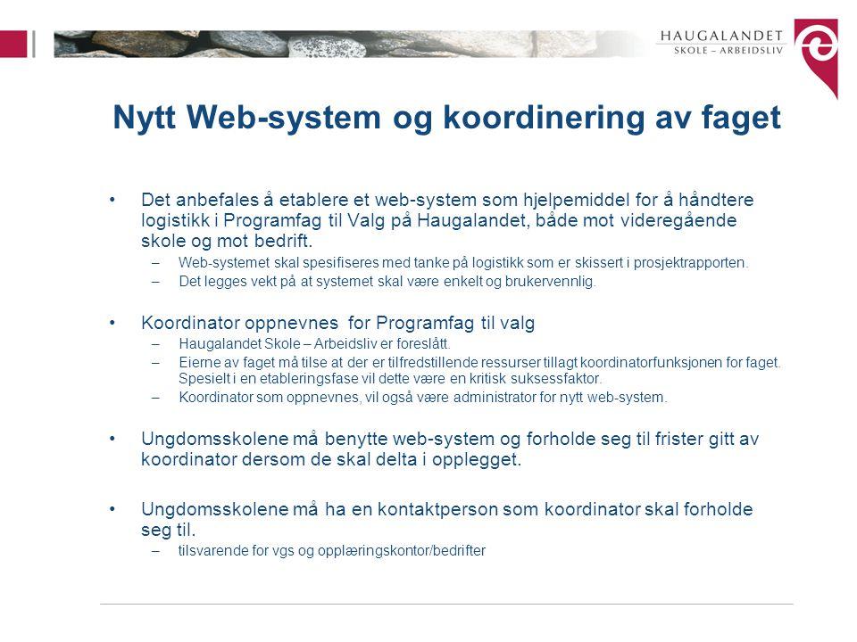 Nytt Web-system og koordinering av faget