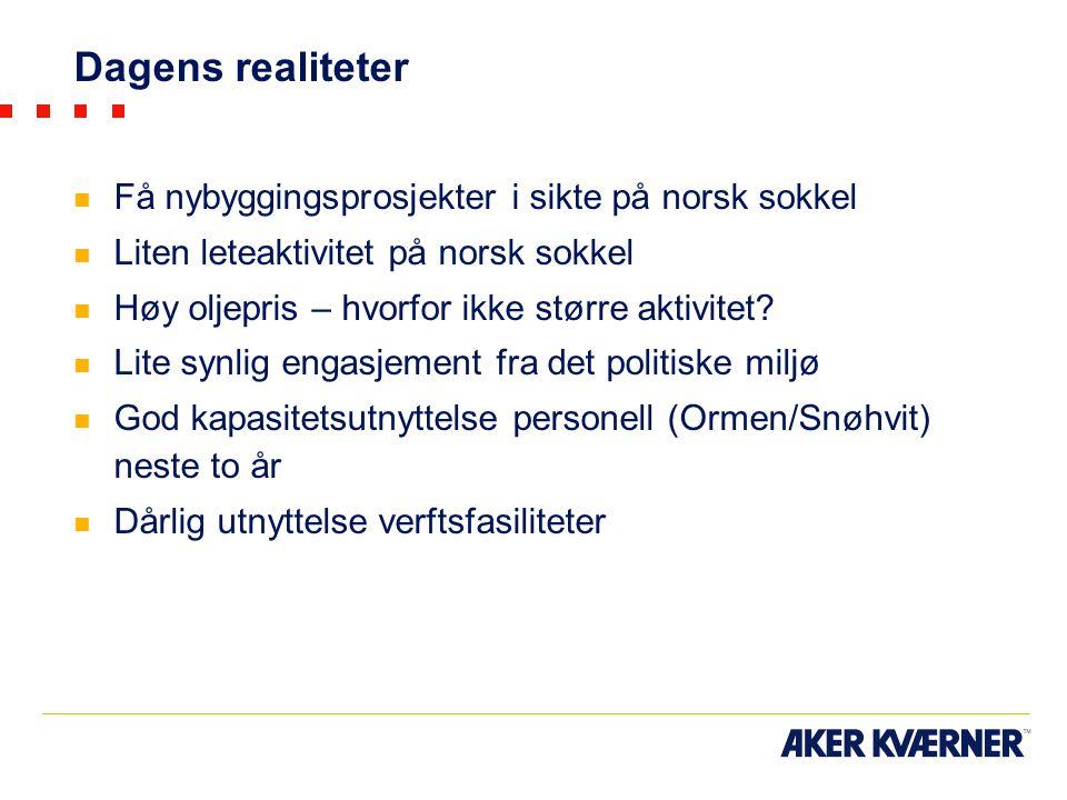 Dagens realiteter Få nybyggingsprosjekter i sikte på norsk sokkel