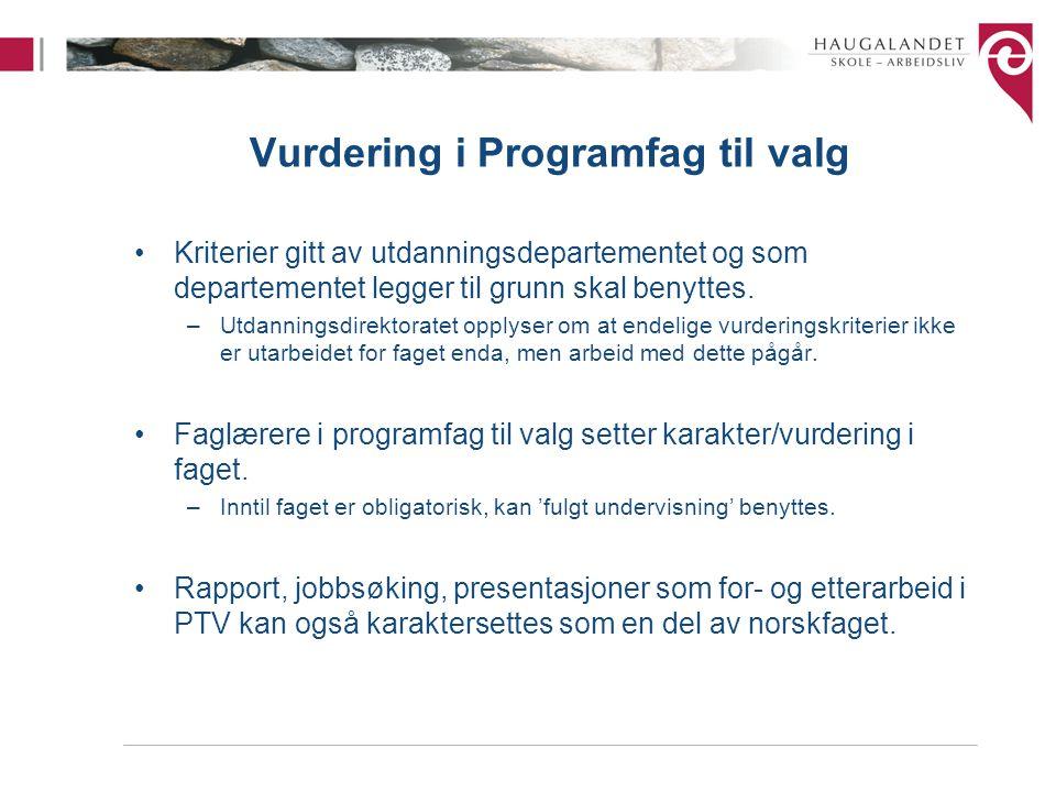 Vurdering i Programfag til valg