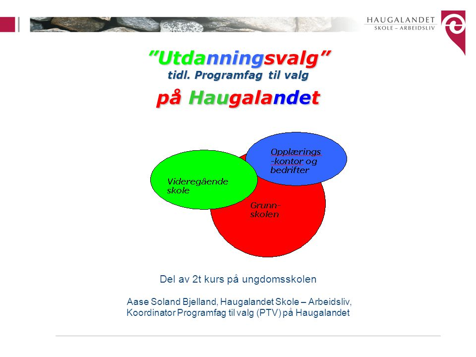 Utdanningsvalg tidl. Programfag til valg på Haugalandet