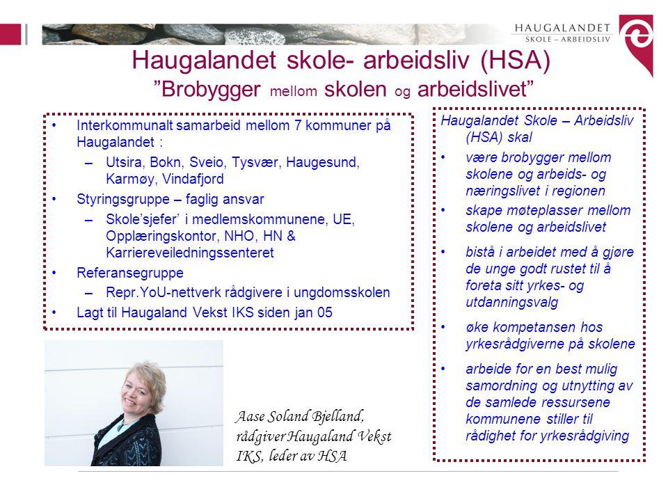 Haugalandet skole- arbeidsliv (HSA) Brobygger mellom skolen og arbeidslivet