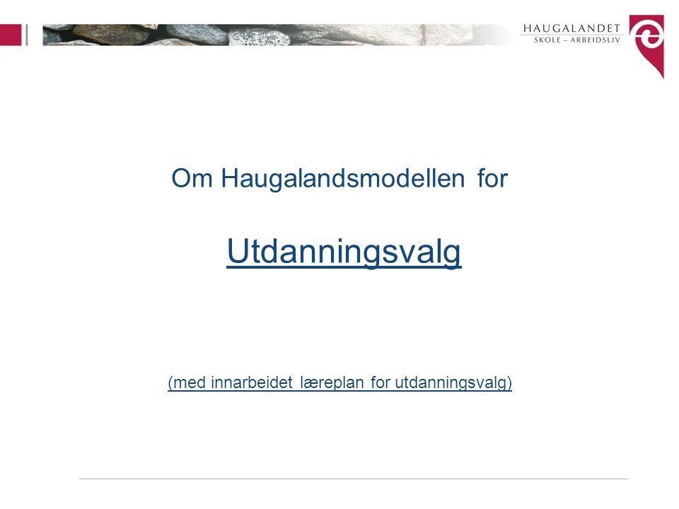 Om Haugalandsmodellen for Utdanningsvalg (med innarbeidet læreplan for utdanningsvalg)