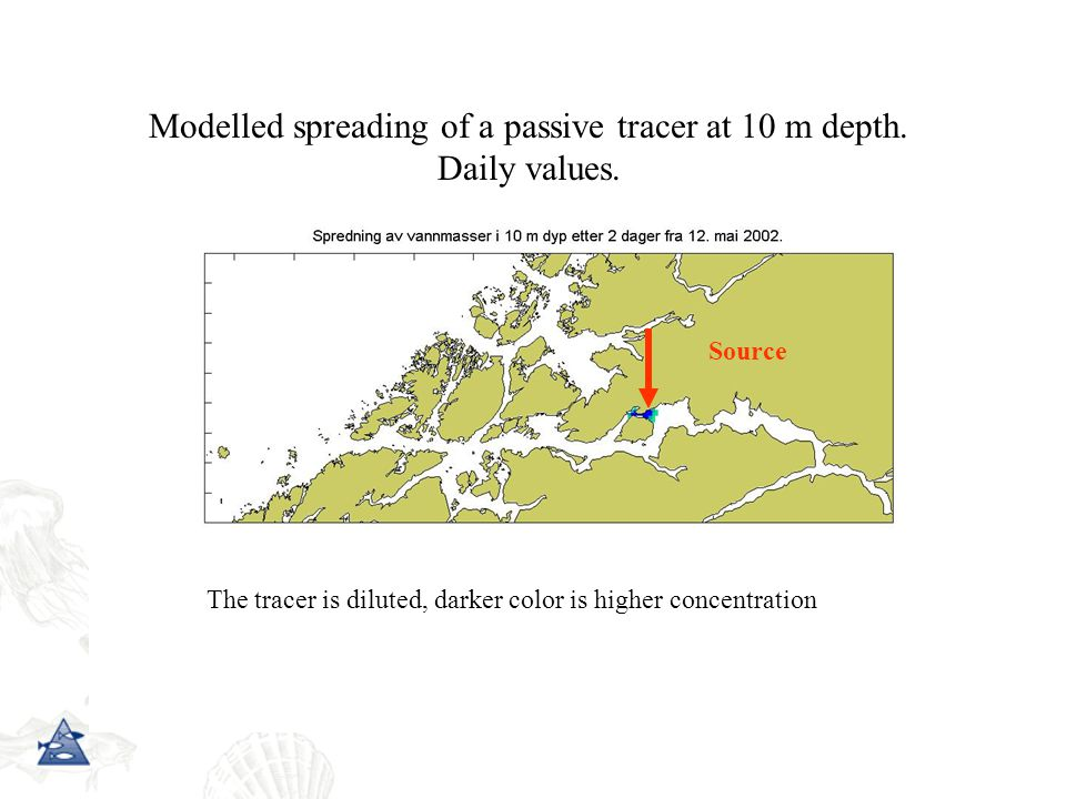 Modelled spreading of a passive tracer at 10 m depth.