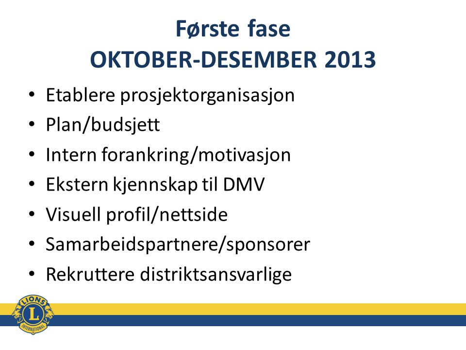 Første fase OKTOBER-DESEMBER 2013