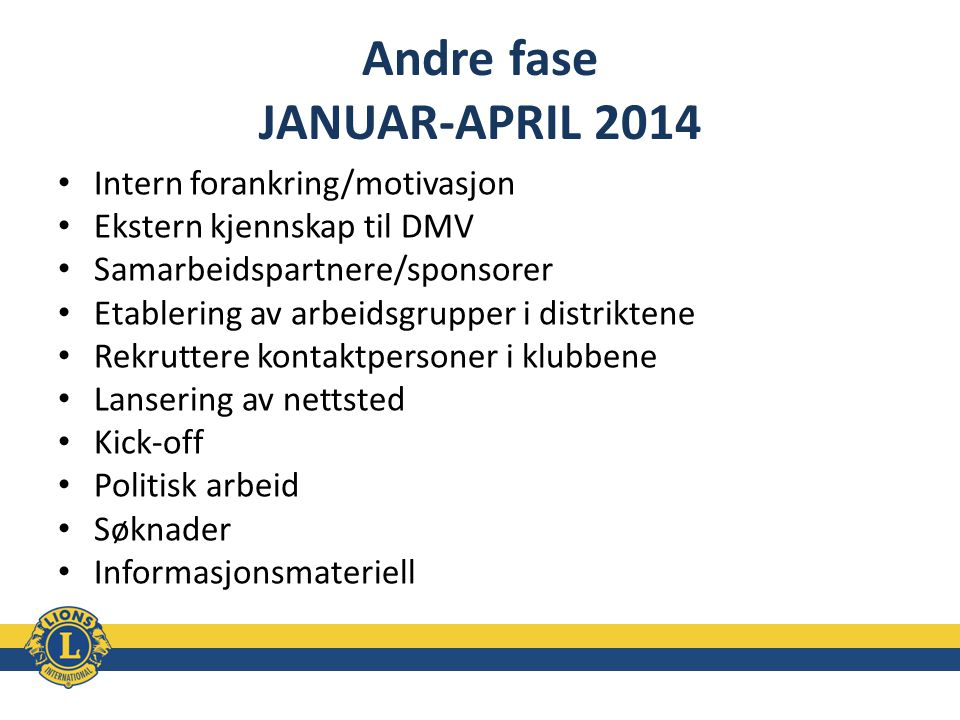 Andre fase JANUAR-APRIL 2014