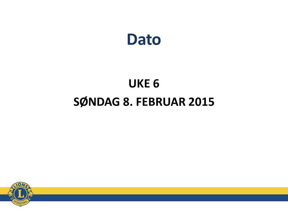 Dato UKE 6 SØNDAG 8. FEBRUAR 2015