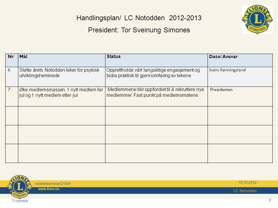 Handlingsplan/ LC Notodden 2012-2013
