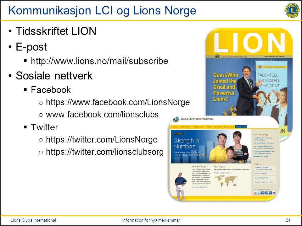 Kommunikasjon LCI og Lions Norge
