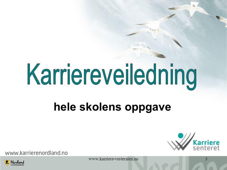 Karriereveiledning hele skolens oppgave www.karriere-vesteralen.no