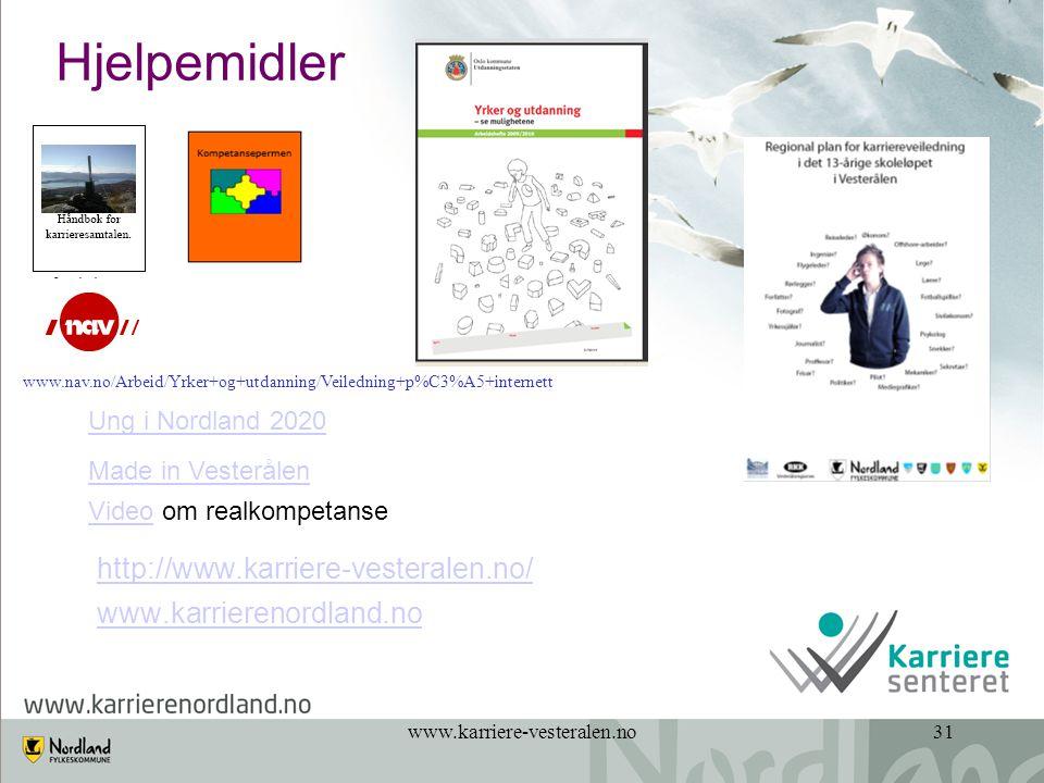 Hjelpemidler www.nav.no/Arbeid/Yrker+og+utdanning/Veiledning+p%C3%A5+internett. Ung i Nordland 2020.