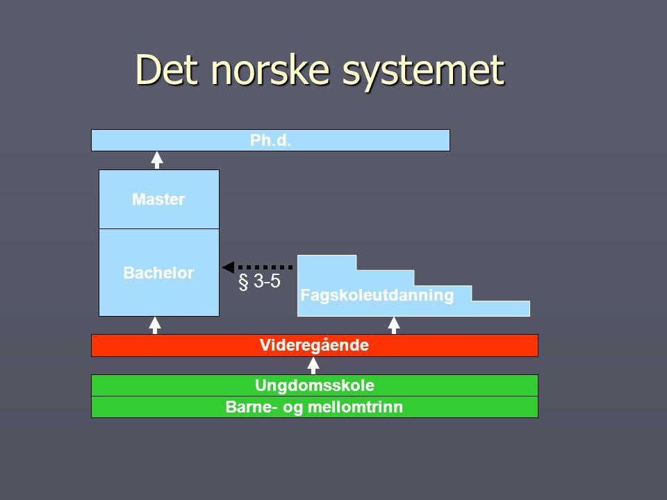 Det norske systemet § 3-5 Ph.d. Master Bachelor Fagskoleutdanning